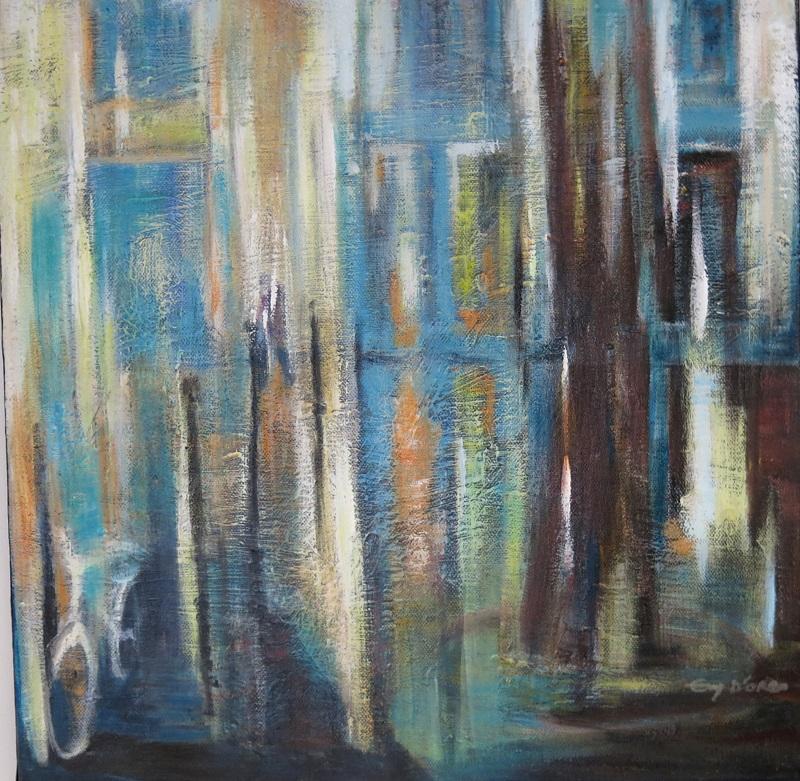 Boulevard Beaumarchais - Toile peinte par Evy d'Orbo