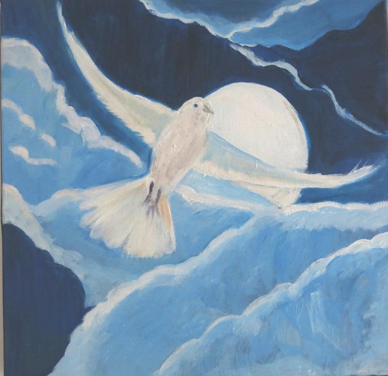 Vol - Toile peinte par Amandine 7 ans